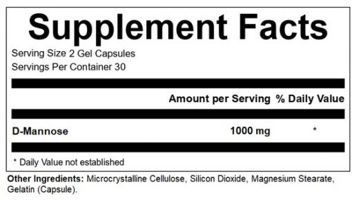 Health Labs Nutra D-Mannose Supplement Facts